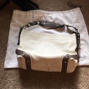 Coach over the shoulder bag white and grey